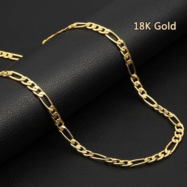 Couple Necklace 16-32 Inch 5MM European Fashion Luxury Men and Women 18k Gold Chain Necklace Bride Groom Engagement Marriage Boutique Jewelry...