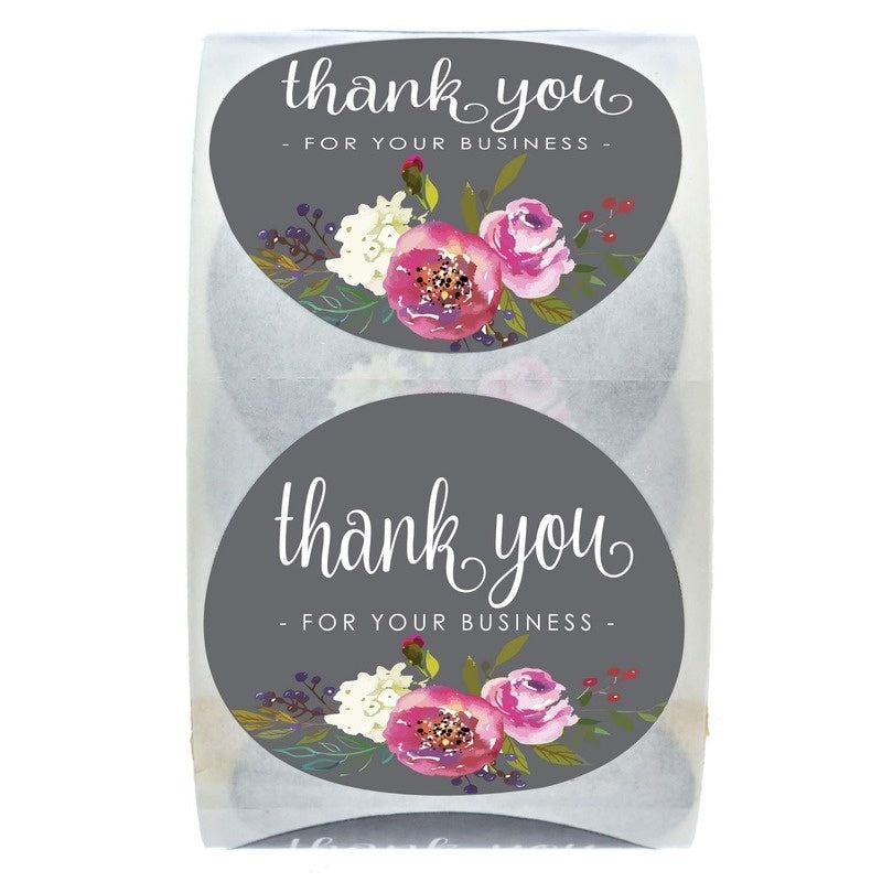 500 labels per roll of 1 in with round floral design thanking you for your business.