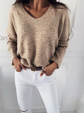 Load image into Gallery viewer, 2019  Autumn Winter Women V-neck Solid Sweater Pullover Female Knitted Sweaters Jumper Casual Knitwear Pull Femme Jersey