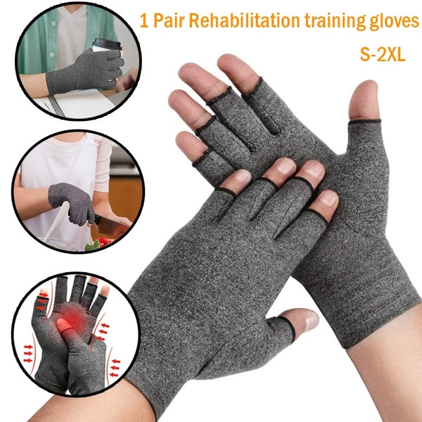 1 Pair Compression Arthritis Gloves Rehabilitation Training Glove Health Care Therapy Wristband Pain Relief Half Finger Gloves