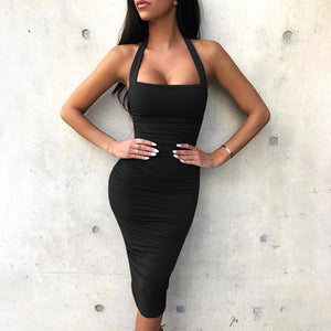 4 Color Plus Size New Design Summer Women Fashion Sleeveless  Skinny Halter Dress Hot Casual Knee-length Off The Shoulder Brief Dress Cool Collect Waist Backless Female Dress Solid Color Evening Dress Princess Dress