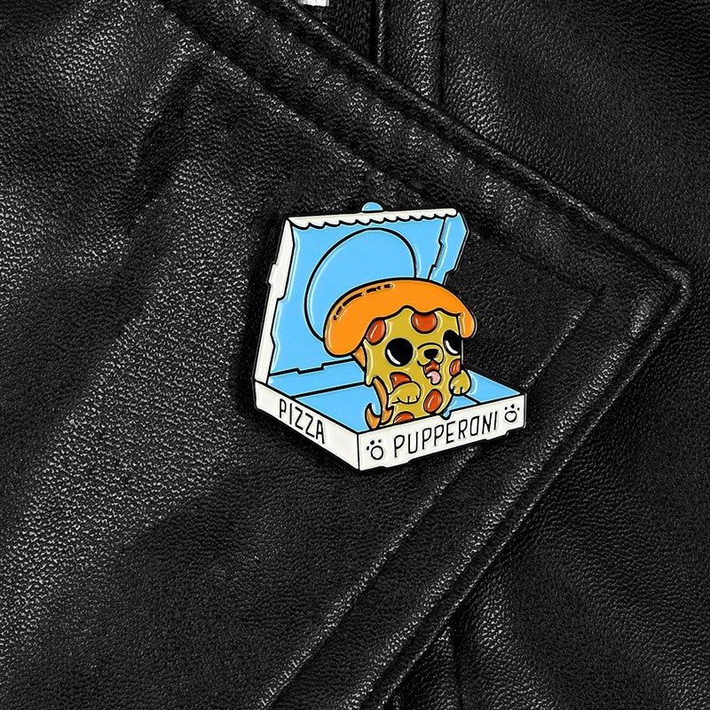 Pizza Dog Enamel Lapel Pin Cute Animal Pizza Party Badge Pins Button
