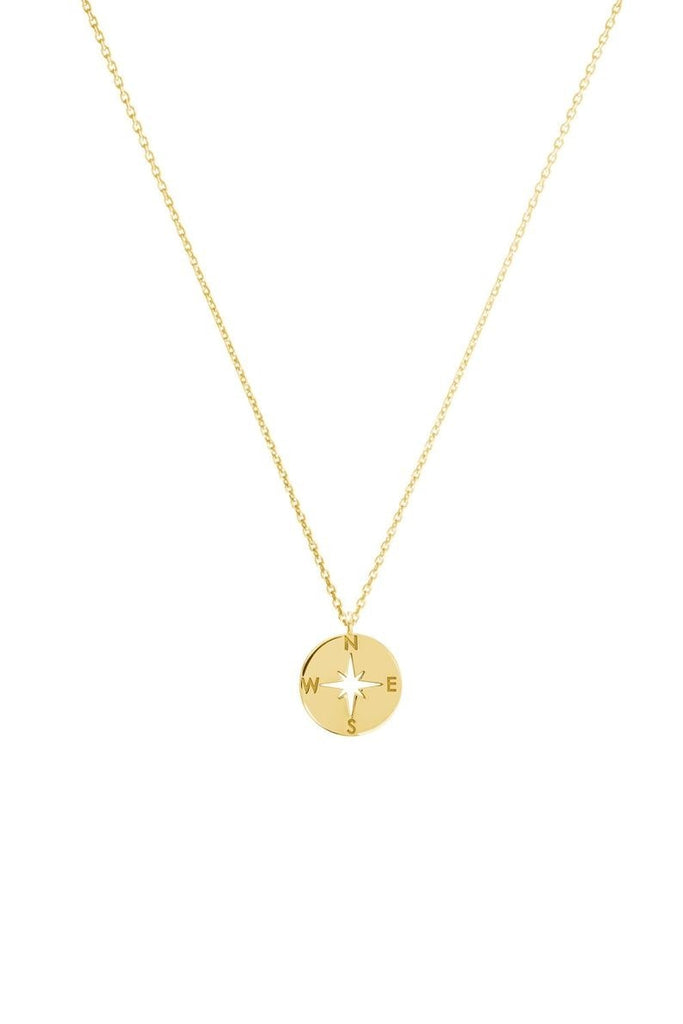 Exquisite compass charm, mirrored stainless steel gold necklace, nautical jewelry, tourist charm, carved gifts to her