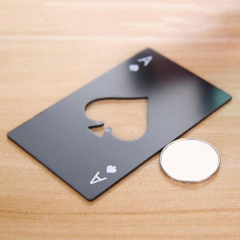 1Pcs Stainless Steel Poker Card Credit Card Size Beer Bottle Cap Opener Home Kitchen Bar Wine Bottle Opener Perfect Fit for Wallet or Pocket Creative Gift
