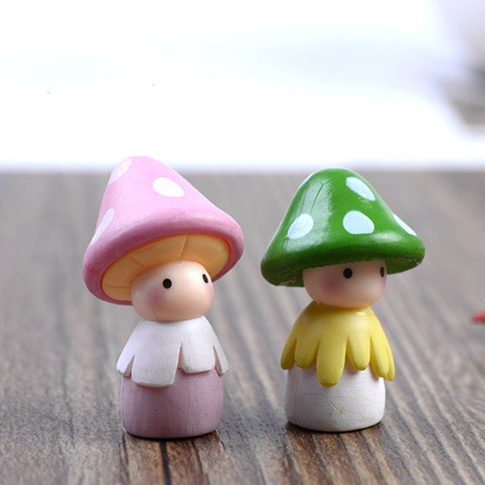 2Pcs/set Cute Mushroom Doll Figurines Mini Miniatures PVC Crafts Fairy Garden Ornament DIY Landscape Home Decor