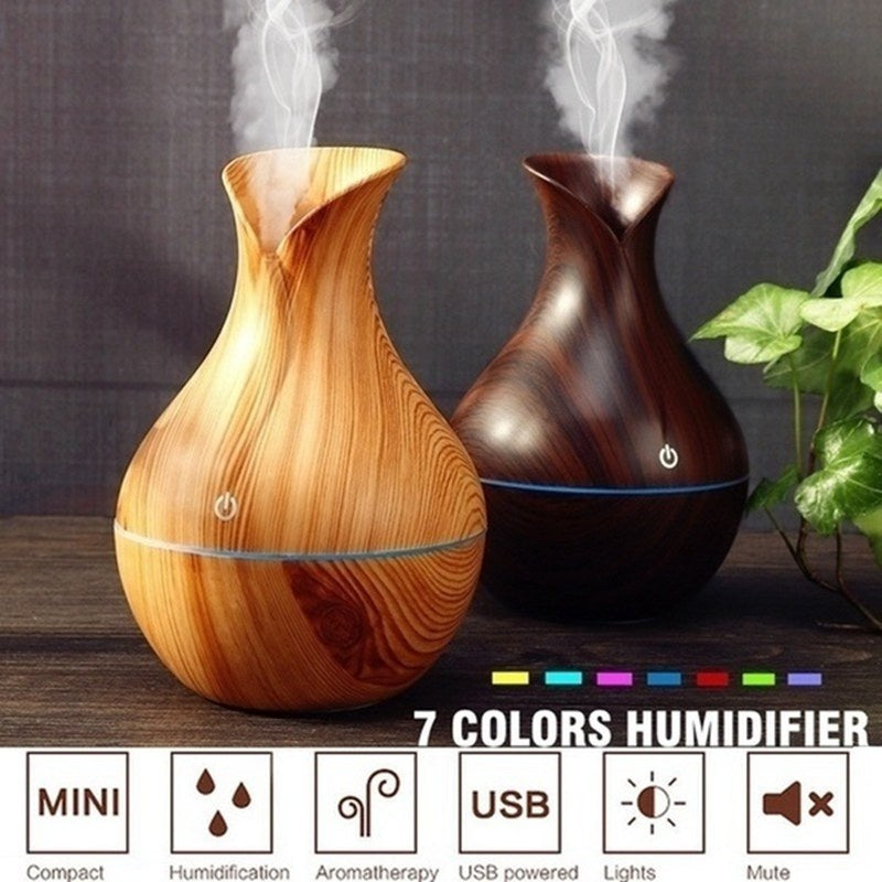 130ml 7 Color Nightlights USB Eletric Wood Grain Ultrasonic Essential Oil Diffuser Aroma Humidifier Air Freshener Home & Office