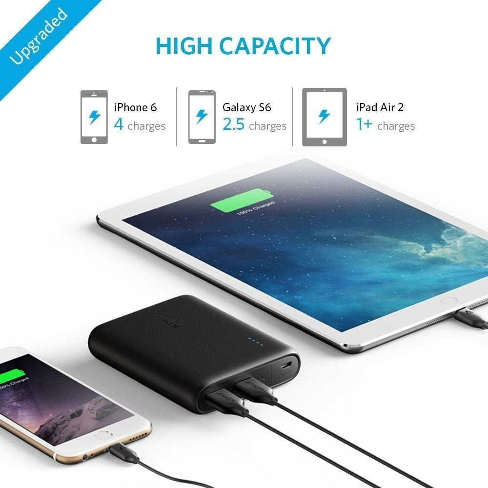 Portable Charger Anker PowerCore 20100mAh/13000mAH - Ultra High Capacity Power Bank with 4.8A Output and PowerIQ Technology, External Battery Pack for iPhone, iPad & Samsung Galaxy & More