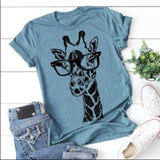 5 Colors Fashion Women Short Sleeve Giraffe Printed Funny Shirt Casual Summer Cotton Tshirt Tops Plus Size