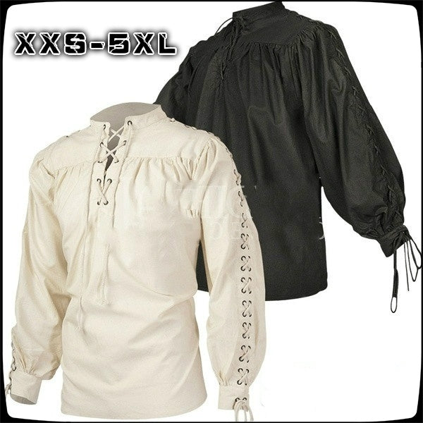 2020 New Medieval Clothing Men's Retro Stand Collar Straps Long-sleeved Shirt Strap Shirt