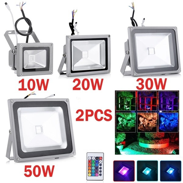 2PCS RGB LED Flood Light 10W 20W 30W 50W LED Outdoor Light Reflector Spot Floodlight With Remote Control