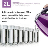 Home 2L Electric Stainless Steel Kettle  Kitchen Water Jug Pot Heating Fast Boiler Purple