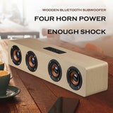 Wireless Wood Bluetooth Speaker TF AUX TV Home Portable Outdoor Xmas Party Gift