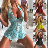 New Arrival Women's Fashion Sexy Lace Perspective Sleepwear Female Sexy Halter Backless Nightwear Deep V Mini Dress and Pantie Two Pieces Set Soft Homewear S-3XL