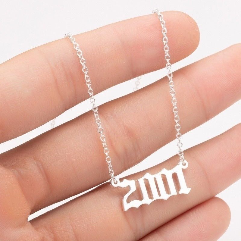 Gold Small Years Number Necklace 1980-2019 Pendant Charm Necklace Stainless Steel Chain Jewelry Men Women Baby Child Necklace Time Past Birth Birthday Gifts Personalized Collares Birthday Gifts