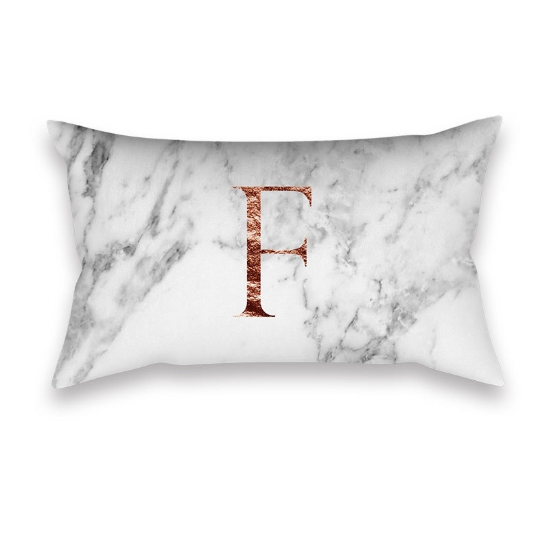 1 PC Elegant Rose Gold Alphabet Capital Letters Print Pillow Cases Marble Background Rectangular Waist Cushion Cover Home Office Living Room Sofa Car Decoration
