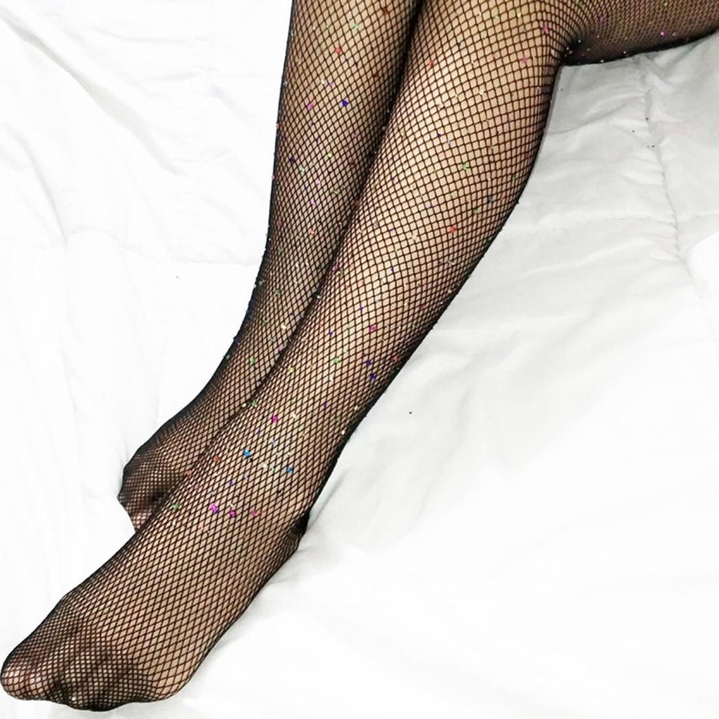 USA Women Crystal Rhinestones Pantyhose Tracks Elastic Stockings Stockings Liquid Fish