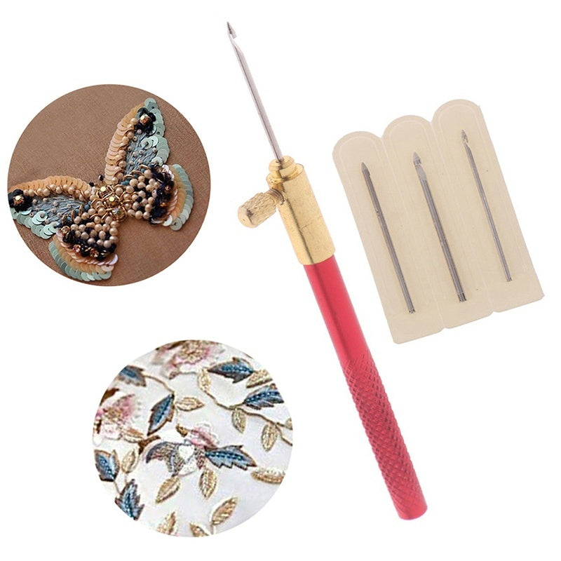 1 Pc Tambour Hook with 3 Needles Embroidery Tambour Crochet Hooks Knitting Tool with 3 Needles French Crochet