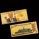 1/5/10/20Pcs Replica Gold Foil Leaf Commemorative Coin Donald Trump 1000 Dollar Bill Presidential Novelty Money