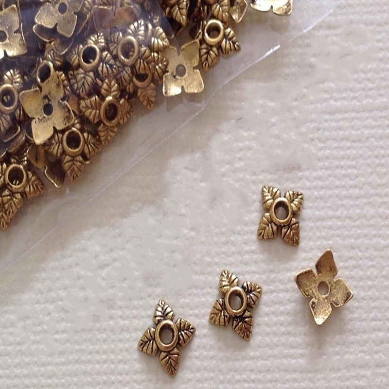 200 Pcs Tibetan Silver / Gold Tone Alloy 4 Leaf Bead Caps 6mm Jewelry Findings