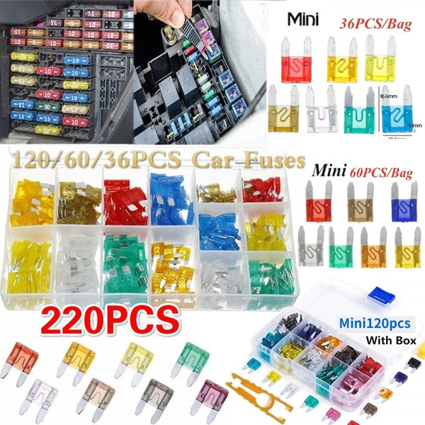 Mini&Standard Fuse Assortment, 5 7.5 10 15 20 25 30 35 AMP Car Boat Truck SUV Automotive Replacement Fuses