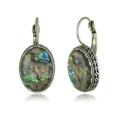 Sparkling 925 Solid Sterling Silver Abalone Shell Dangle Drop Earrings Wedding Engagement Fine Jewelry Gifts