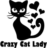 Crazy Cat Lady w Hearts Silhouette - Cat Vinyl Car Decal, Laptop Decal, Window Car Wall Sticker