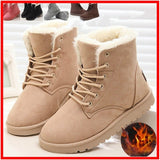 Fashion Women Winter Ankle Boots Female Snow Booties Ladies Shoes Suede Plush Botas Mujer Black Beige Size 4.5- 9