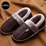 Women/Men Fashion Leather Shoes Waterproof Cotton Slippers Warm Non-slip Couple Winter Thick-bottomed Plush Shoes Plus Size 35-50