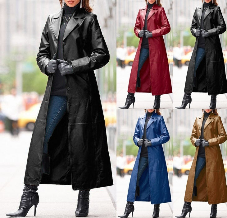 Winter Women's Fashion Cyberpunk Leather Long Jacket Casual Loose Button Solid Color Coats Lapel Biker Jacket Plus Size