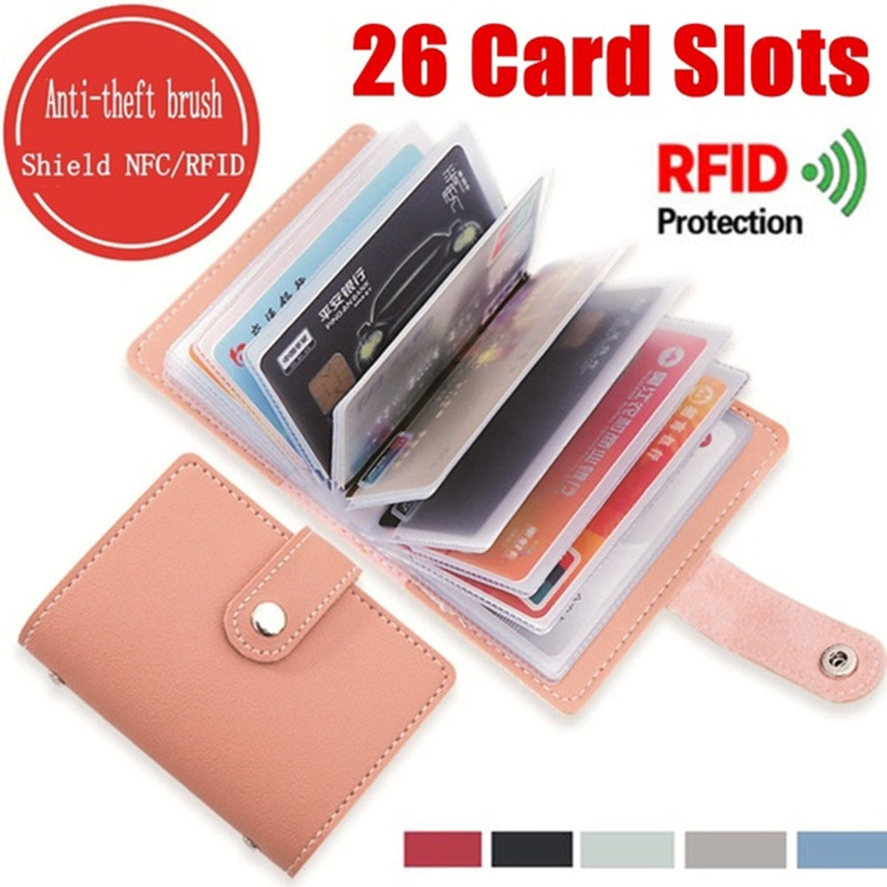 26 Card Slots Cards Cardholder Credit Card Wallet Slim Women Men Purse Candy Color PU Leather RFID Blocking Wallet Credit Card Holder