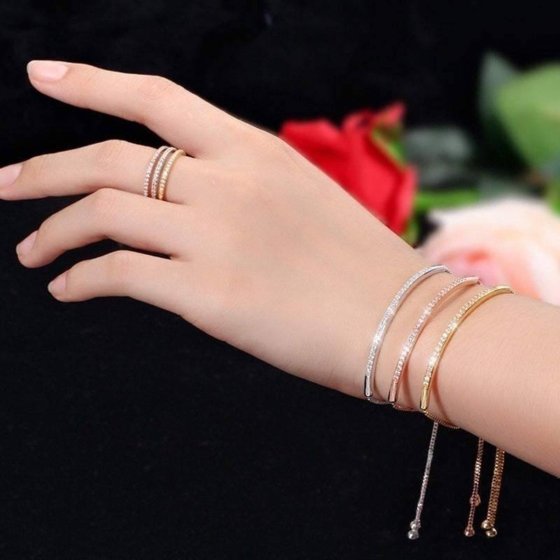 Half Bar CZ Paved 18k Gold/Silver/Rose Gold Plated Adjustable Chain Bracelets Women/Girls Fashion Jewelry, for Love, Anniversary, Brithday, Valentine's Day,Women's Day