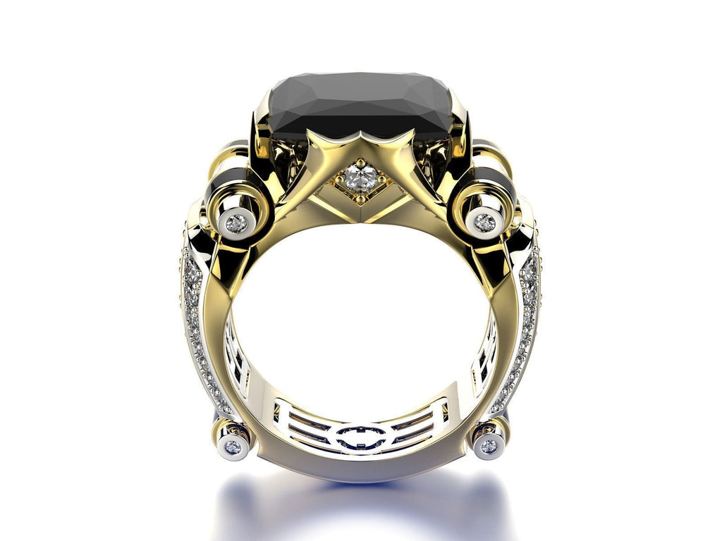 Fashion Luxury 18k Gold Plated Two-tone Black & Red Gemstone Inlay Zircon Rings for Women Men Personality Bridal Wedding Band Proposal Engagement Party Banquet Cocktail Ring Size 6-12