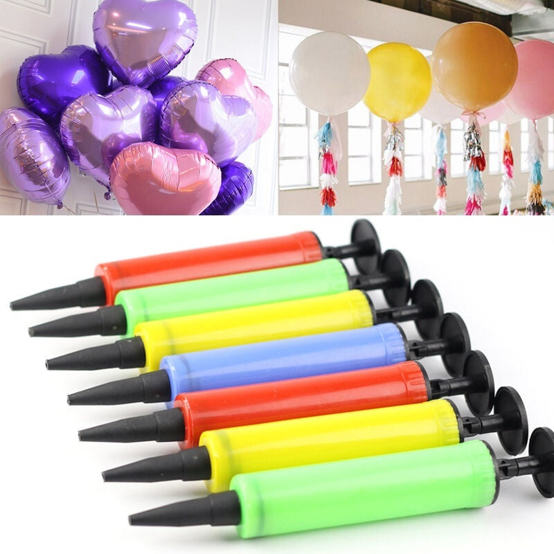 2Pcs Mini Portable Plastic Manual Balloon Pump Air Pillow Inflator Party Supplies Gadget (Color Random)