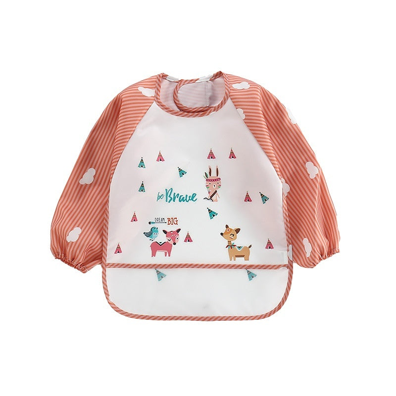 Cute Cartoon Newborn Baby Toddler Kids Long Sleeve Art Smock Bib Waterproof Apron