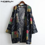 INCERUN Men Women Japanese Harajuku Style Cardigan Jackets Cotton Long Sleeve Loose Kimono Tops