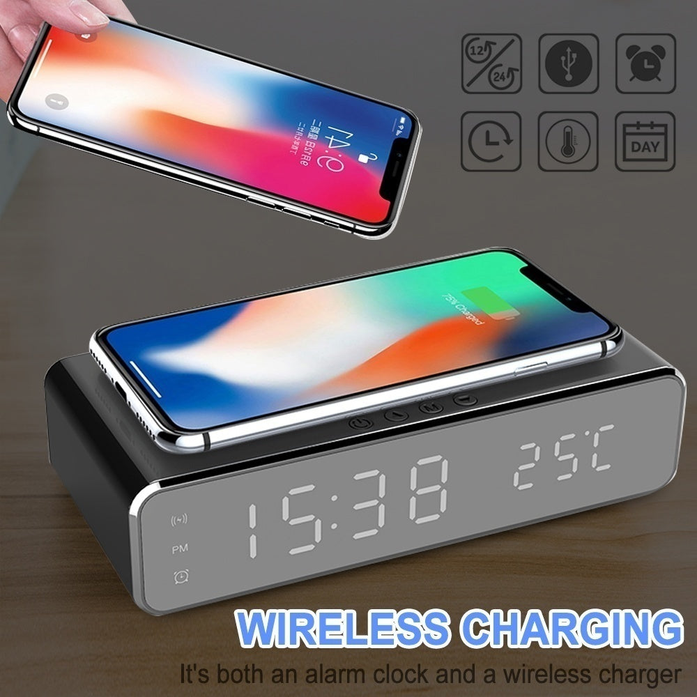 Newest LED Electric Alarm Clock With Wireless Phone Charger,Thermometer Desktop Digital HD Mirror Clock
