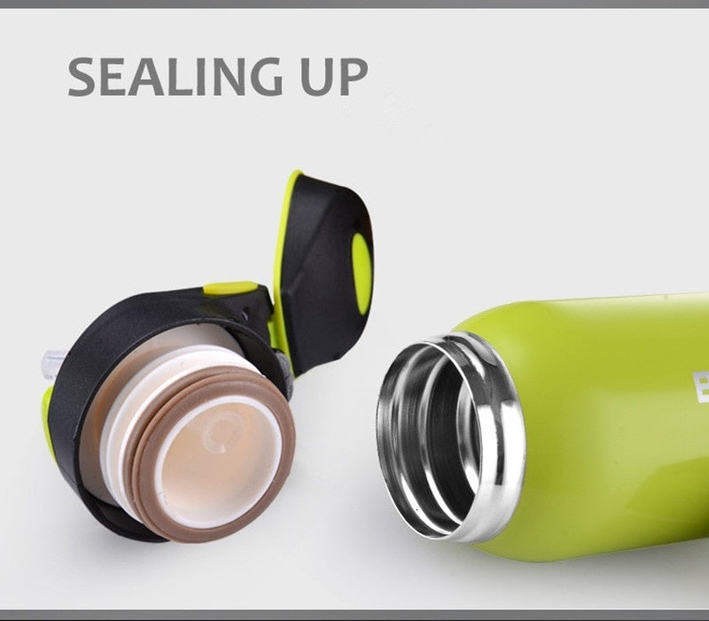 500ML Sport Thermos Water Bottle Thermo Mug Stainless Steel Vacuum Flask Mug with Straw Insulation Cup Thermoses Tthermal Bottle