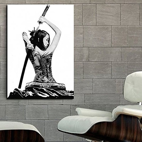 Nordic Home Decor Modern Samurai Girl Japanese Art Canvas Printed Bushido Poster for Bedroom Wall Pictures Modular