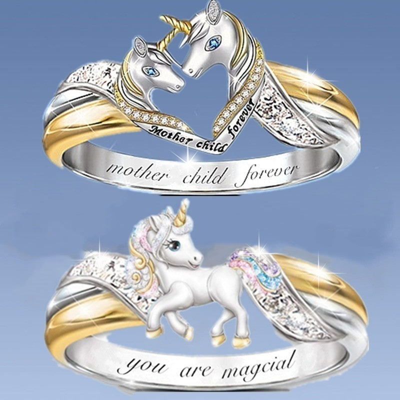 You Are Magical and Mother Child Forever Exquisite Fashion Creative 925 Sterling Silver 18K Gold Heart Unicorn Cute Wedding Band Accessories Mother's Day Gift Engagement Anniversary Gift Charm Jewelry for Wift Women Lady Size 5-11