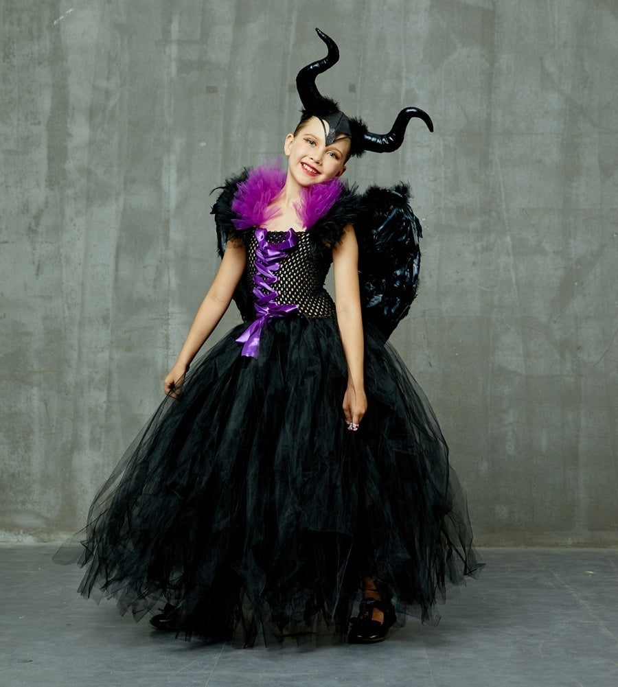 Kids Cosplay Costume Dress Horn Wing Girls Halloween Fancy Tutu Dress Children Christening Dress Up Black Gown Villain Clothes
