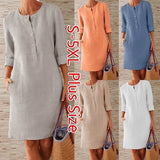 Women Casual Solid Color Round Neck Dress Cotton and Linen Loose Botton Plus Size Long Sleeve Midi Dress