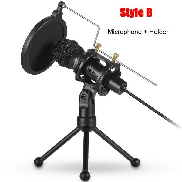 USB Studio Recording Microphone Condenser Microphone Professional PC Live Streaming Cardioid Microphone Kit with Shock Mount, Pop Filter Plug and Play PC Microphone for Broadcasting, Recording, YouTube