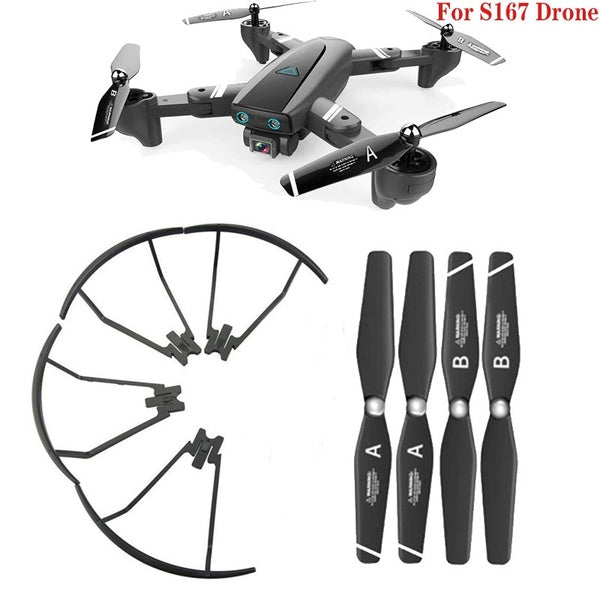Upgraded Main Blade Propellers for S167 Drone CCW CW Propeller Guard Protectors Replacement RC Quadcopter Spare Parts Set Black