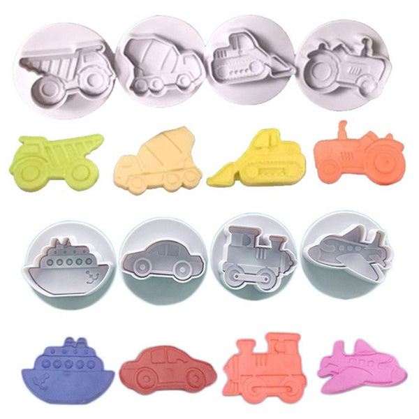 8pcs/set Plastic 3D Biscuit Mold Airplane Car Shape Cookie Cutters Fondant Pastry Plunger Chocolate Mold Cake Decorating Tools