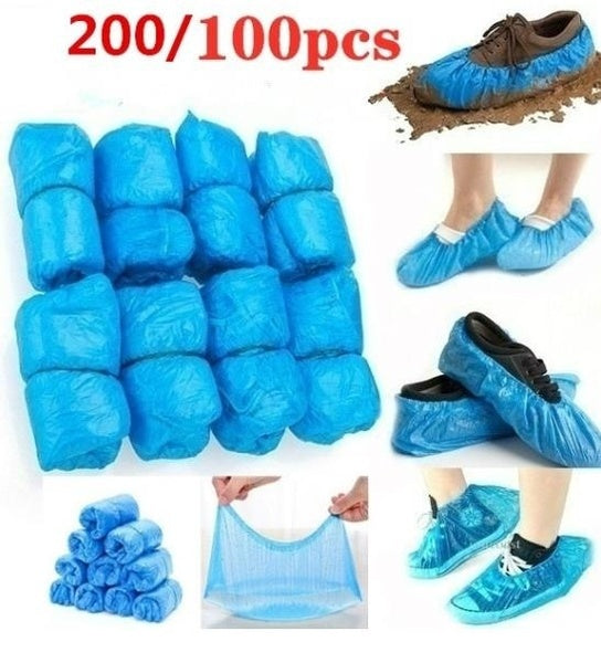 2020 New Waterproof and dustproof disposable plastic shoe cover thickened 100/200/300 packs