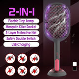 2020Newest [ 1200mAh Cordless ] Summer Mosquito Bug Zappers Battery Power Electric Fly Swatter Bug Zappers Racket Insects Killer Home Bug Zappers