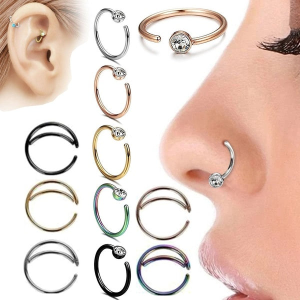 Diamond/Double Nose Ring Boho Nose Jewelry Septum Ring Hoop Lip Ring Earring