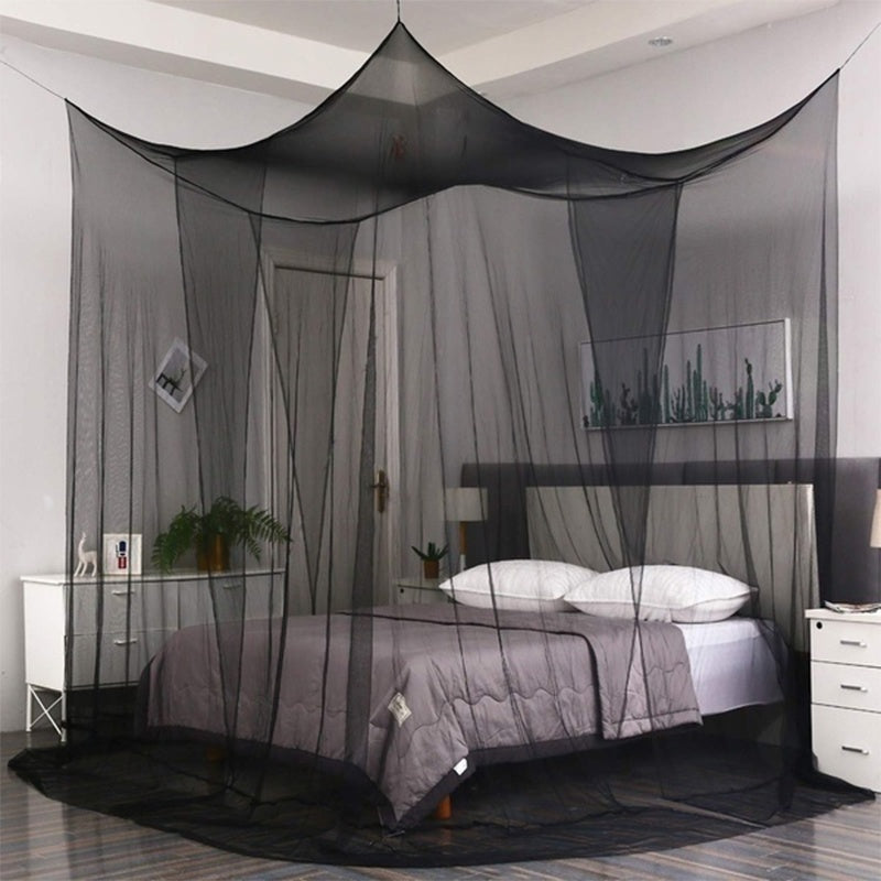 Universal 4 Corner Post Bed Canopy Mosquito Net Full Queen King Size Netting Black Bedding Home Decor