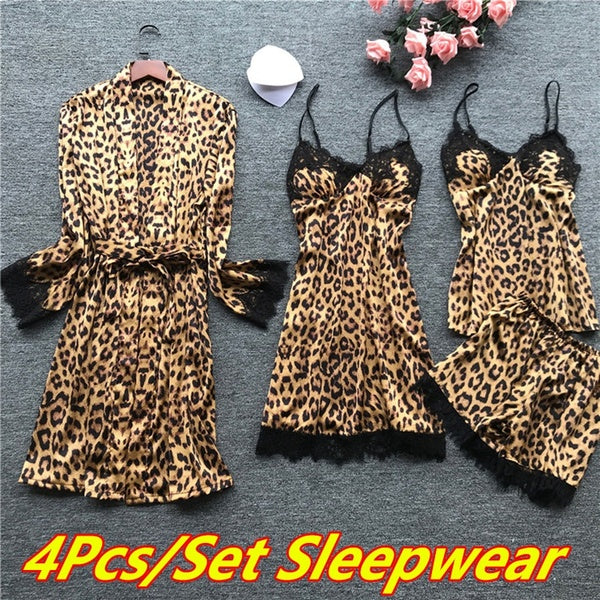 4Pcs/Set Women Pajamas Sets Lace Sleepwear Lounge Print Nightwear Strap Lace Sleep Leopard Homewear Sleepwear