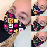 Women Dust-Proof Cotton Face Masks Windproof Mask Printed Half Face Mouth Muffle